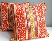 Vintage Fabric Pillow Cover - Funky Orange Silk Stripes, 1960s
