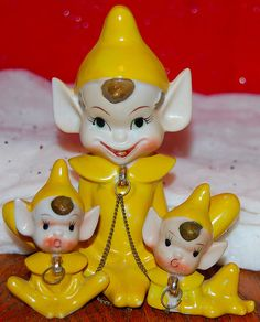 VINTAGE RELCO CERAMIC CHRISTMAS OR EASTER ELVES, PIXIES, SET OF THREE ON CHAIN   eBay