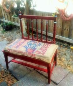 what do you get when you cross a vintage crib end and chair , diy, outdoor furniture, painted furniture, repurposing upcycling Diy Furniture Chair, Outdoor Garden Furniture, Diy Pallet Furniture, Diy Chair, Repurposed Furniture, Painted Furniture, Home Furniture, Furniture Ideas, Refurbishing Furniture