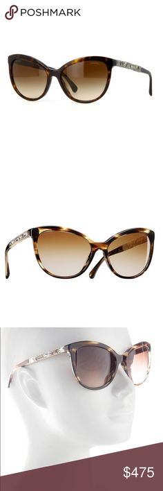 Authentic {chanel} tortoise cat eye sunglasses! Authentic CHANEL cat eye tortoise crystal sunglasses from the Bijou collection (2015) featuring crystal baguettes on the sides. The Chanel 5307B sunglasses are inspired by Coco's passion for costume jewelry. Cat-eye shape makes them suitable for most face shapes. Made in Italy and retails for $520. Gently worn twice and in mint condition! Comes with original box, holder, sleeve, booklet and fiber cloth for cleaning. 100% UVA protection…