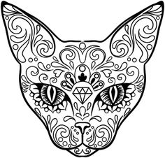 dog sugar skull coloring pages | Day of the Dead Sugar Skull Cat | Tattoos | Sugar skull ...