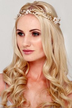A modern flower crown, the Dolores pearl bridal halo is unique and striking. Made of handmade flowers and delicately hand wired for a soft bohemian style. Bridal Hair Vine, Bridal Crown, Wedding Hair Accessories, Bridal Headpieces, Handmade Flowers, Flower Crown, Irene, Hair Pins, Bohemian Style