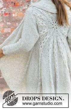 Empress - Longue veste tricotée en rond avec 1 fil DROPS Air + 1 fil DROPS Brushed Alpaca Silk, en forme de cercle, avec texture. Du S au XXXL. Modèle tricot gratuit femme DROPS 194-17