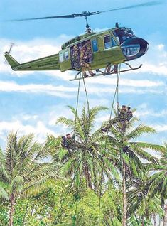 """Rappelling from a Huey was used to insert teams when LZs were unavailable, or to simply avoid using the few LZs in an area as they might be under surveillance"", Adam Hook Vietnam War Photos, Vietnam Vets, Military Helicopter, Military Aircraft, Military Art, Military History, Us Army Rangers, Military Drawings, Airplane Art"
