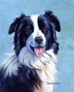 Border Collie Painting by Donna Crawshaw