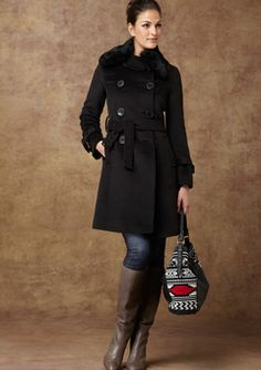ATELIER NOIR BY RUDSAKBlack Belted Double-Breasted Coat with Rabbit Fur Trim