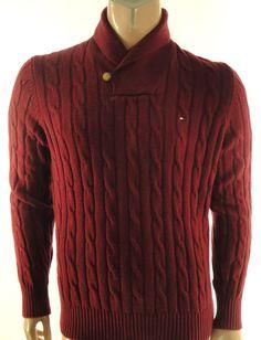 TOMMY HILFIGER NEW MENS $89.50 RED ZINFANDEL SHAWL COLLAR CASUAL SWEATER sz- XL #TommyHilfiger #Shawl