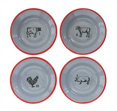 Creative Co-Op Round Tin Trays with Farm Animal Images Set of 3 Sizes//Designs
