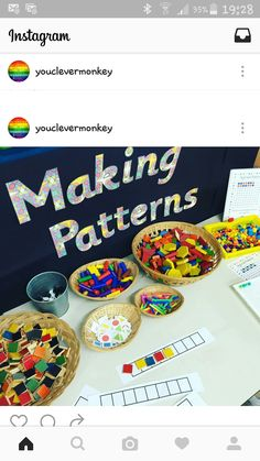 making patterns - an invitation to play with loose parts to create patterns from different obkects Maths Eyfs, Eyfs Classroom, Kindergarten Classroom, Teaching Math, Math Activities, Preschool Activities, Numeracy, Classroom Teacher, Teaching Resources