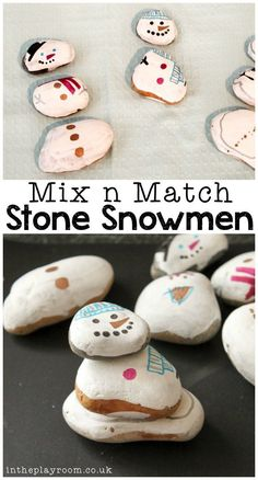 "Snowman activities: Mix n match stone snowmen winter craft and ""build one"" game. Snowman Crafts, Holiday Crafts, Fun Crafts, Christmas Diy, Arts And Crafts, Simple Crafts, Snowman Craft Preschool, Creative Crafts, Winter Activities For Kids"