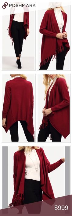 COMING SOONWine color wrap front cardigan Get the new Fall color! Wine colored wrap front fringe cardigan. OSFM.  Acrylic stretchy material. No holds or trades!  Simply like this listing to be notified when it arrives. Price will be set after I receive it. Boutique Sweaters Cardigans
