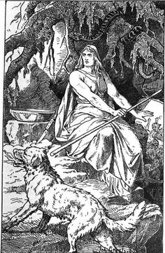 Hel (1889) by Johannes Gehrts - Hel (being) - Norse Mythology, the goddess of death, with siblings (snake & wolf) spawn of Loki.