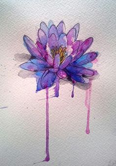 colorful lotus //Trishokay. watercolor flower tattoo