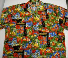 TOUCAN DANCE Hawaiian Shirt Mens TIKI ALOHA Golf Fishing Tropical Print Large  #Hawaiian