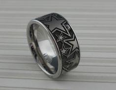 Titanium Wedding Ring with Stars