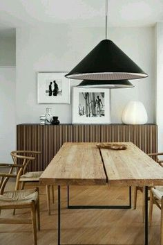 Rustic minimalist interior design with wooden dining details