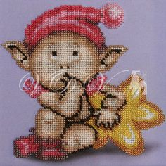 "Beading kit ""Elf With A Star"" (VDV). #vdvkiev #embroiderykit #printonfabric #handmade #Preciosa #kitwithbeads #beads #beadingkit"