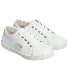 Dolce & Gabbana - White Leather Lace-Up Trainers | Childrensalon