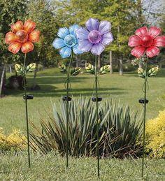 SOLAR ART GLASS FLOWER PETAL SCULPTURE , SET OF 8