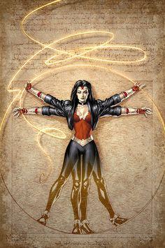 Vitruvian Wonder Woman  Variant cover art for Wonder Woman #604 Art byAlex Garner