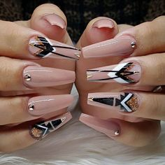 """If you're unfamiliar with nail trends and you hear the words """"coffin nails,"""" what comes to mind? It's not nails with coffins drawn on them. It's long nails with a square tip, and the look has. Stiletto Nails, Toe Nails, Coffin Nails, Acrylic Nail Designs, Nail Art Designs, Nails Design, Uñas Fashion, Fashion Deals, Nail Candy"""