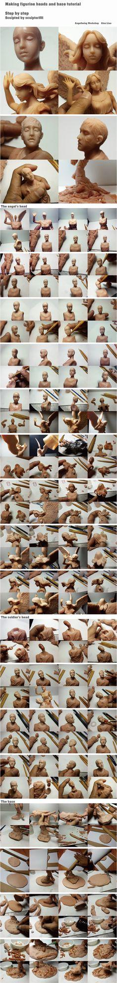 Figurine WIP tutorial part 6 heads + base final by sculptor101 on DeviantArt
