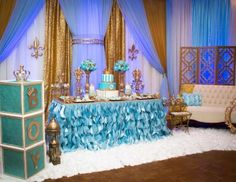 Gold and blue Royal baby shower