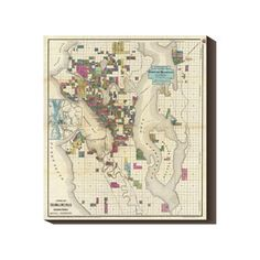 Seattle Area 1890 19.5x22 Map, $76, now featured on Fab.