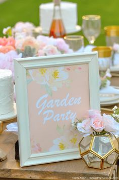 Looking for a perfectly styled Garden Party Tablescape + Free Printables? Kara's Party Ideas presents a rustic and chic tablescape that you have to see! Unique Party Themes, Party Ideas, Gift Table Signs, Grandma Birthday, Garden Theme, Party Signs, Shower Party, 1st Birthday Parties, Tablescapes