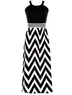 Vestido halter zigzag-(Sheinside)