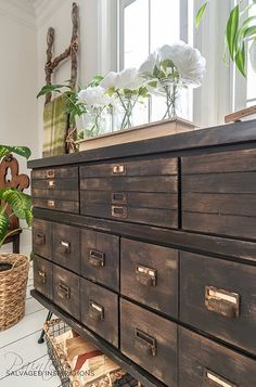 Antique Apothecary Cabinet Dresser Makeover with DIY Drawers Salvaged Inspirations Small Furniture, Refurbished Furniture, Paint Furniture, Furniture Makeover, Luxury Furniture, Dresser Makeovers, Bedroom Furniture, Antique Furniture, Trendy Furniture