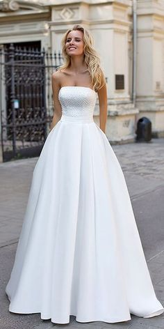 Strapless Beaded Bridal Prom Dress,Simple White Prom Dress,Custom Made Evening Dress,17257