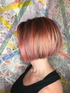 Pink and rose gold bob by Erin Macdonald -chicago -cellar door salon