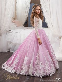 Cheap flower girl dresses, Buy Quality pageant dresses girls directly from China pageant dresses Suppliers: 2017 Princess Long Sleeves Lace Flower Girl Dresses 2017 Vestidos Puffy Pink Kids Evening Ball Gown Party Pageant Dresses Girls Girls Bridesmaid Dresses, Girls Pageant Dresses, Gowns For Girls, Wedding Dresses For Girls, Pageant Gowns, Wedding Party Dresses, Baby Pageant, Party Wedding, Prom Party