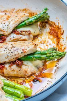 Eat Clean: Asparagus & Sun-dried Tomato Stuffed Chicken Skillet! - Clean Food Crush