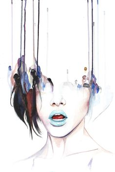 Highly Contagious - contemporary dripping watercolor portrait by defectivebarbie