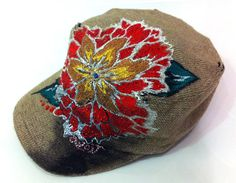 Red Lotus Floral Handpainted Knitted Look Hat by avoiryoung, $29.00