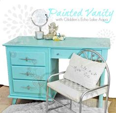 This ain't my gramma's vanity anymore - I 'dusted' years off with a basecoat of bright aqua topped with stenciled flower bursts and simple freehand vines. Upcycled Furniture, Furniture Projects, Furniture Making, Furniture Makeover, Painted Furniture, Diy Furniture, Painted Desks, Diy Projects, Geometric Furniture