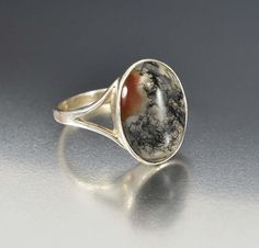 Vintage Silver Art Deco Moss Agate Ring