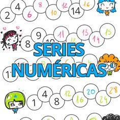 Fichas de series numéricas para niños. Números de dos en dos, hacia atrás, de cinco en cinco, de cuatro en cuatro. Completa los números que faltan...