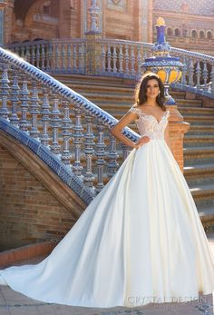 crystal design 2017 bridal off the shoulder sweetheart neckline heavily embeliished bodice satin skirt romantic a  line wedding dress open v back chapel train (isabel) mv