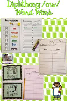 These hands-on and engaging diphthong /ow/ word work activities will help students master words with ow and ou! With hands-on building, sorting, reading, and writing activities, these centers will be a student favorite! #diphthongs #diphthongow #phonics #wordwork #spelling #ELA #elementary #teaching