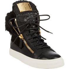 Giuseppe Zanotti Fur-Trim Double-Zip Sneakers (€975) ❤ liked on Polyvore featuring shoes, sneakers, giuseppe zanotti, tenis, black, high top zipper sneakers, black hi tops, black trainers, giuseppe zanotti sneakers and zipper sneakers