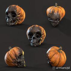 ArtStation - Evil Pumpkin Skulls, Arminas Didziokas Zombie Halloween Decorations, Halloween Ideas, Evil Pumpkin, Zbrush, Skulls, Sculpting, Scary, 3d Printing, Artwork