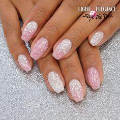 Pink diamond and Diamond glitter gels from Light Elegance by @seizethenail