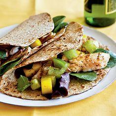 Fish Tacos with Mango Salsa Verde Recipe Gourmet Sandwiches, Gourmet Burger, Tilapia Recipes, Seafood Recipes, Mexican Food Recipes, Cooking Recipes, Catfish Recipes, Healthy Meals For Kids, Kids Meals