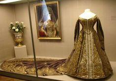 Russian Court Dress of Empress Alexandra Feodorovna ~ The first half of the 19th century ~ Alexandra Fyodorovna (Germany, 1872-1918) was Empress consort of Russia as the spouse of Nicholas II, the last Emperor of the Russian Empire. Born as Alix of Hesse and by Rhine, she was a granddaughter of Queen Victoria of the United Kingdom.