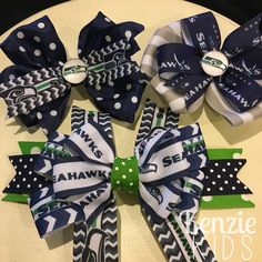 Seattle Seahawks hair bows and barrette by Kenzie Kids Boutique