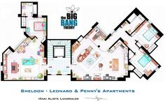 """This is a house-plan based in the apartments of Sheldon, Leonard and Penny from the TV show """"TBBT"""". It's an original hand drawed plan, in scale, colou. Sheldon, Leonard and Penny Apartment from TBBT Sheldon Leonard, Big Bang Theory, The Big Theory, Ted Mosby, Gilmore Girls, Charlie Harper, Tbbt, Die Simpsons, Leonard And Penny"""