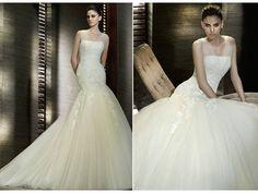 Chic drop-waist ivory San Patrick wedding dress with illusion neckline